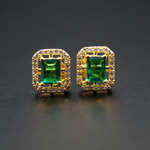 Chara- Green/ White Gemstones Earrings - Gold