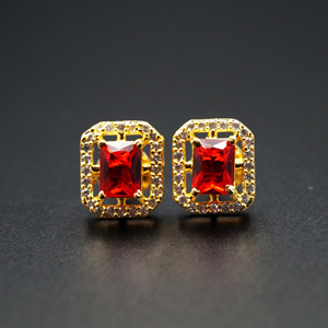 Chara- Red/ White Gemstones Earrings - Gold