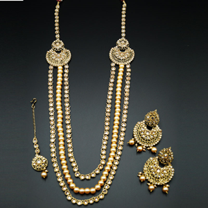 Edha Gold Polki Stone and Pearl's Rani Haar Set - AntiqueGold