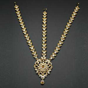Yasti Gold/ White Diamante Mathaa Pathi - Gold