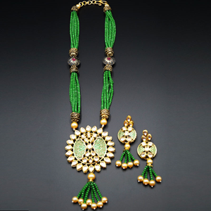 Vinya Green Kundan Necklace Set- Gold