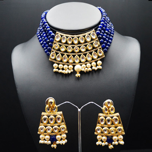 Meeta Blue Kundan Choker Necklace Set - Gold
