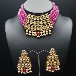 Meeta Pink Kundan Choker Necklace Set - Gold