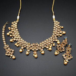 Garvita Gold Polki Stone and Pearl Choker Necklace Set - AntiqueGold