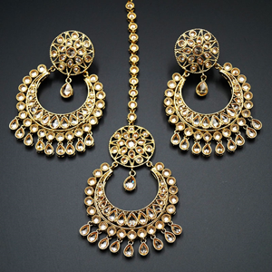 Bavita Gold Polki Stone and Pearl Earring Tikka Set - Antique Gold
