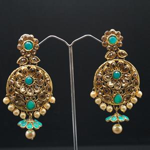 Benita Jade/Gold Stone Pearl Necklace Set - Gold