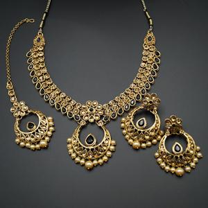 Elina Black and Gold Choker Necklace Set - Gold