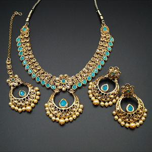 Elina Turquoise and Gold Necklace Set - Gold