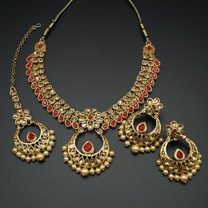 Elina Red and Gold  Necklace Set - Gold