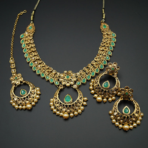 Elina Pista and Gold Necklace Set - Gold