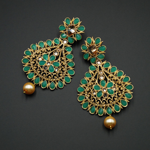 Chann Jade Kundan /Gold Diamante Earrings   - Gold