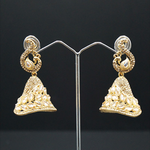 Warhi Gold Polki Stone Jhumka Earrings - Gold