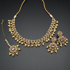 Tarz Gold Polki Stone/Pearl Necklace set - Antique Gold