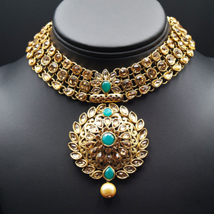 Asta Turquoise and Gold Choker Necklace Set - Gold