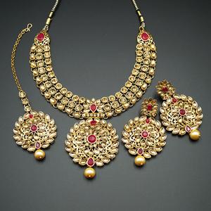 Asta Dark Pink  and Gold Choker Necklace Set - Gold