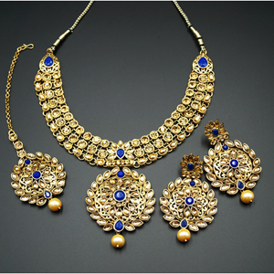 Asta Royal Blue and Gold Choker Necklace Set - Gold