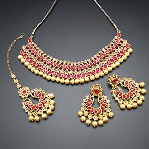 Anita Dark Pink/ Gold Choker Necklace Set - Gold