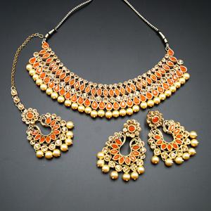 Anita Orange/ Gold Choker Necklace Set - Gold