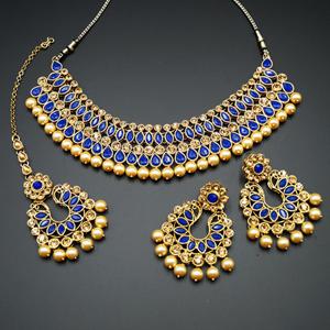 Anita Royal Blue/ Gold Choker Necklace Set - Gold