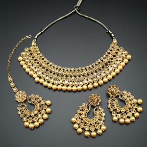 Anita  Gold Stone Choker Necklace Set - Gold