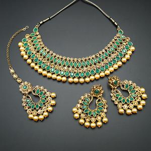 Anita Green/ Gold Choker Necklace Set - Gold