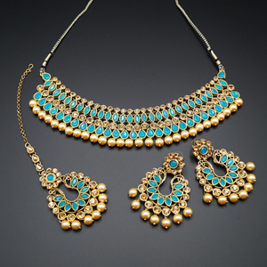 Anita Turquoise / Gold Choker Necklace Set - Gold