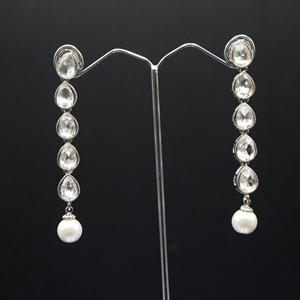 Tamana White Polki Stone Earrings - Silver