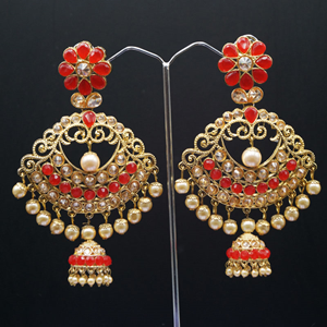 Urna  Red Kundan/ Diamante Earrings - Gold