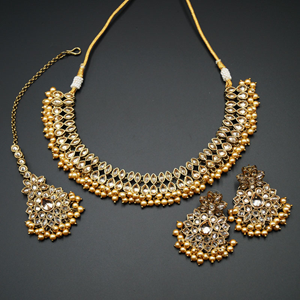 Mahika - Gold Polki Stone Necklace set - Antique Gold
