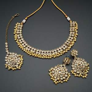 Ahana - Gold Polki Stone Necklace set - Antique Gold