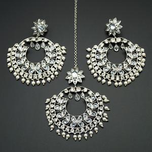 Hiral- White Polki Stone Earring Tikka Set - Silver