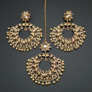 Hiral- Gold Polki Stone Earring Tikka Set - Gold