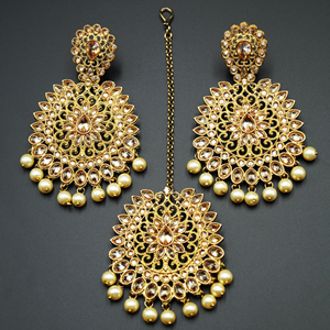 Vanya-Gold Polki Stone and Pearl Earring Tikka Set - Antique Gold