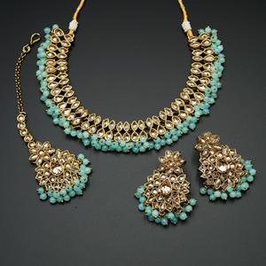 Mahika - Gold Polki Stone/Sky Blue Beads Necklace set - Antique Gold