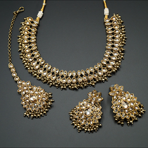 Mahika - Gold Polki Stone/Gold Beads Necklace set - Antique Gold