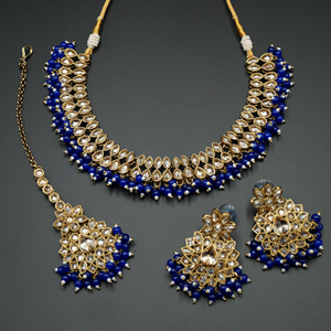 Mahika - Gold Polki Stone/ Royal Blue Beads Necklace set - Antique Gold