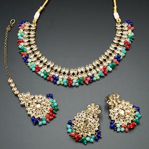 Mahika - Gold Polki Stone/Multi colour Beads Necklace set - Antique Gold