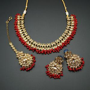 Mahika - Gold Polki Stone/ Red Beads Necklace set - Antique Gold