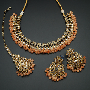 Mahika - Gold Polki Stone/ Peach Beads Necklace set - Antique Gold