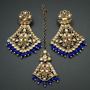 Inika Gold Diamante/ Blue Beads Earring Tikka Set - Gold
