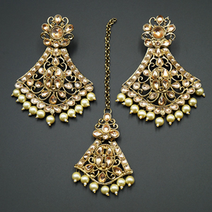 Inika Gold Diamante/ White Pearls Earring Tikka Set - Gold