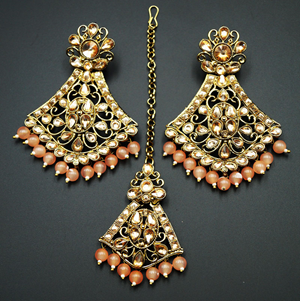 Inika Gold Diamante/ Light Peach Beads Earring Tikka Set - Gold