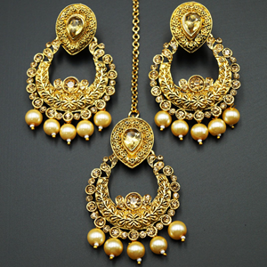 Kirti Gold Diamante / Pearl Earring Tikka Set - Gold