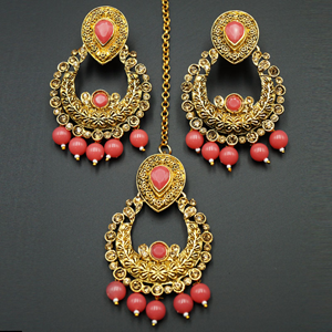 Kirti Gold Diamante / Peach Beads Earring Tikka Set - Gold