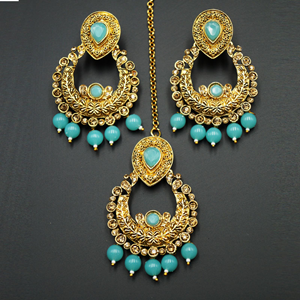 Kirti Gold Diamante / Light Blue Beads Earring Tikka Set - Gold