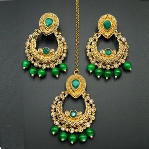 Kirti Gold Diamante / Green Beads Earring Tikka Set - Gold