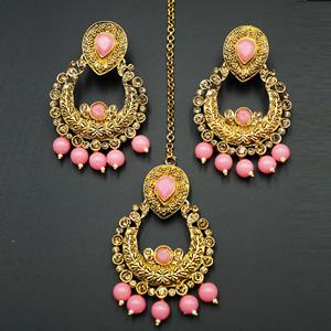 Kirti Gold Diamante / Pink Beads Earring Tikka Set - Gold