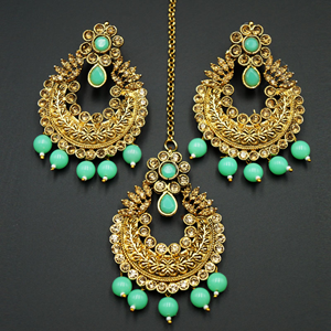 Edha Gold Diamante / Green Beads Earring Tikka Set - Gold