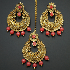 Edha Gold Diamante / Peach  Beads Earring Tikka Set - Gold