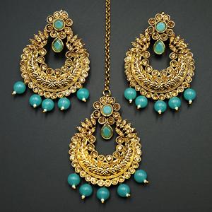 Edha Gold Diamante / Blue Beads Earring Tikka Set - Gold